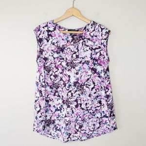 The Limited | Floral High Low Cap Sleeve Blouse
